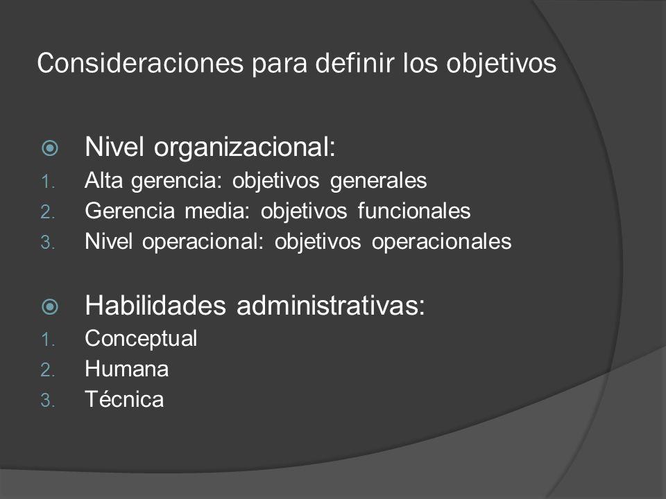 Consideraciones para definir los objetivos