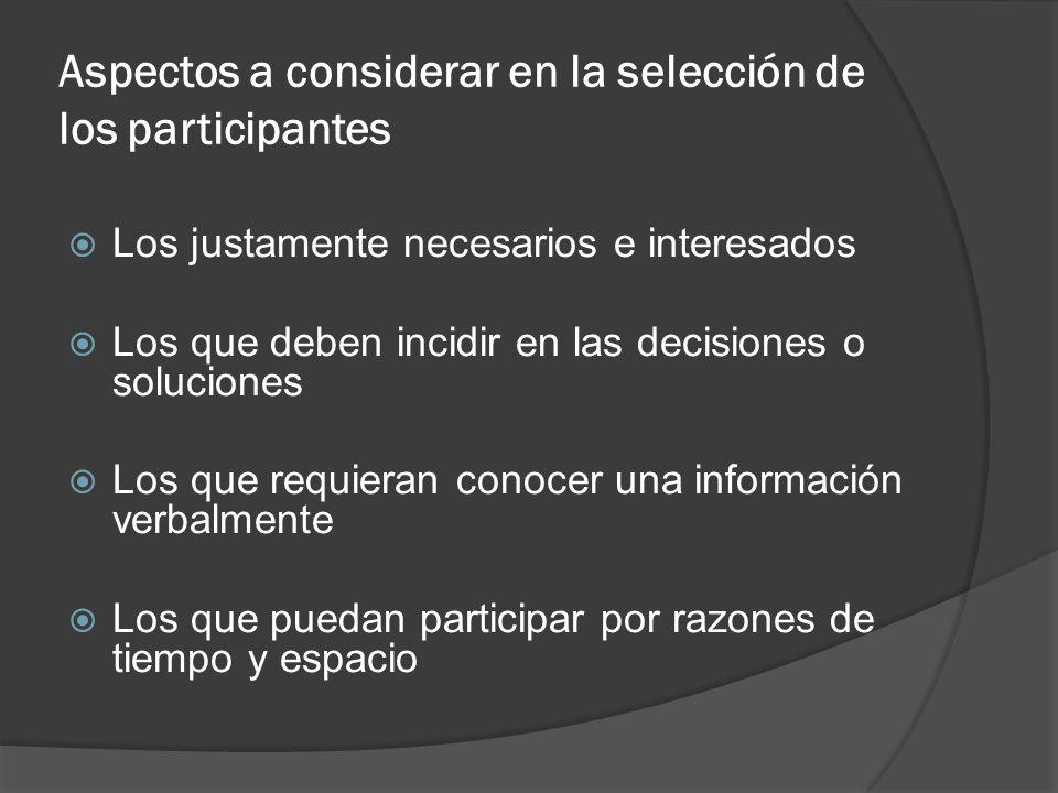 Aspectos a considerar en la selección de los participantes