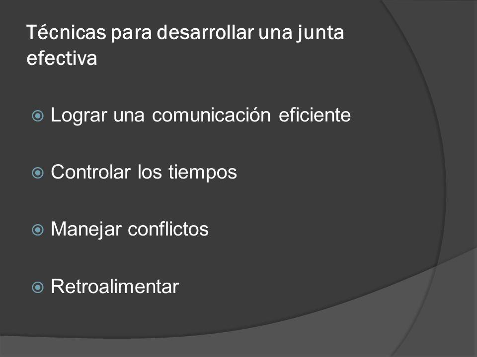 Técnicas para desarrollar una junta efectiva