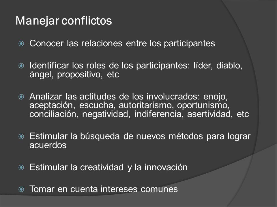 Manejar conflictos Conocer las relaciones entre los participantes