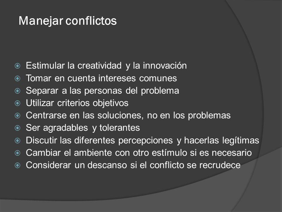 Manejar conflictos Estimular la creatividad y la innovación