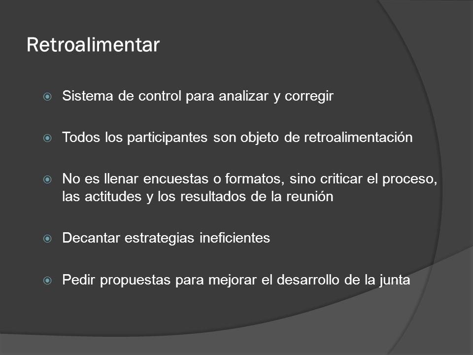 Retroalimentar Sistema de control para analizar y corregir