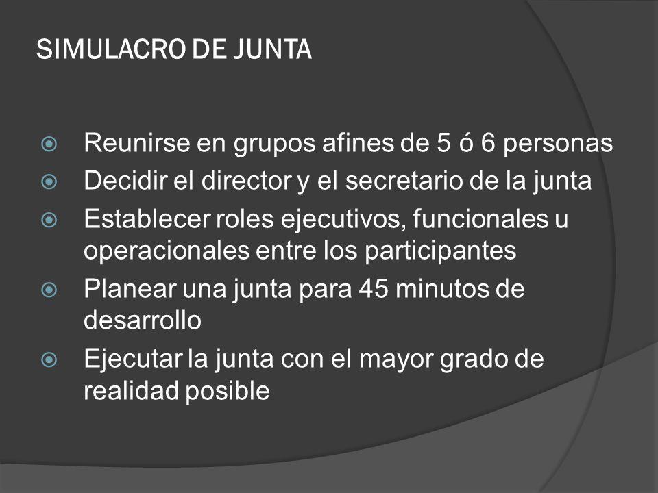 SIMULACRO DE JUNTA Reunirse en grupos afines de 5 ó 6 personas