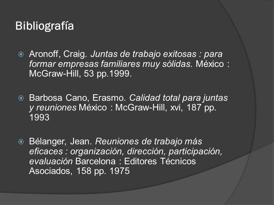 Bibliografía Aronoff, Craig. Juntas de trabajo exitosas : para formar empresas familiares muy sólidas. México : McGraw-Hill, 53 pp.1999.