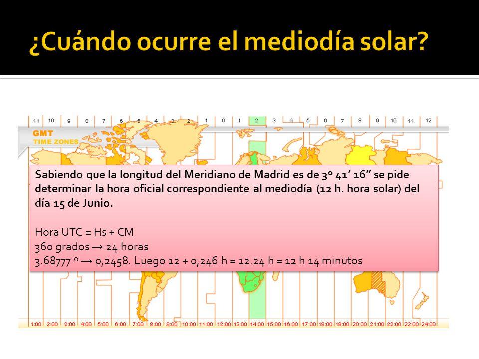¿Cuándo ocurre el mediodía solar