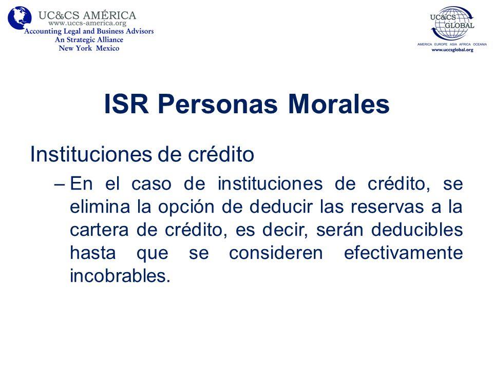 ISR Personas Morales Instituciones de crédito