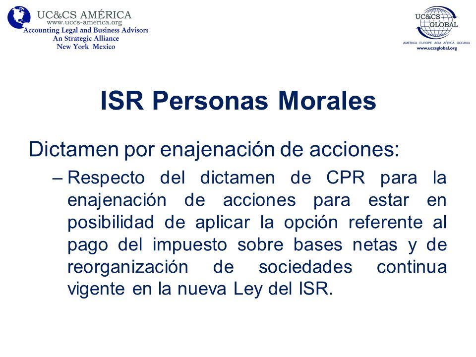 ISR Personas Morales Dictamen por enajenación de acciones: