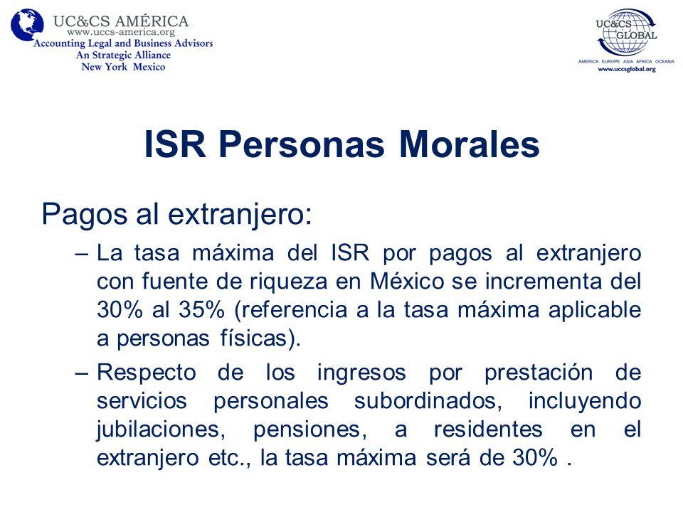 ISR Personas Morales Pagos al extranjero: