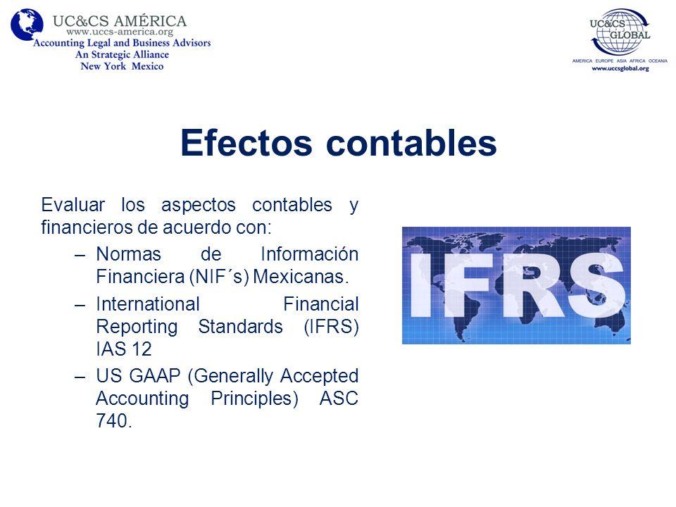 Efectos contables Evaluar los aspectos contables y financieros de acuerdo con: Normas de Información Financiera (NIF´s) Mexicanas.