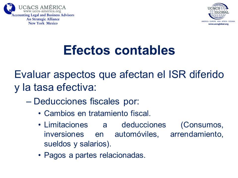 Efectos contables Evaluar aspectos que afectan el ISR diferido y la tasa efectiva: Deducciones fiscales por: