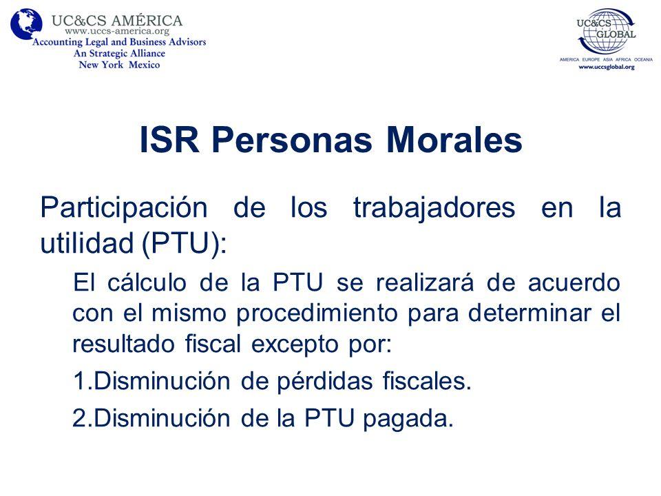 ISR Personas Morales Participación de los trabajadores en la utilidad (PTU):