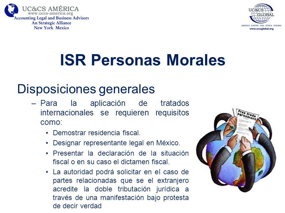 ISR Personas Morales Disposiciones generales