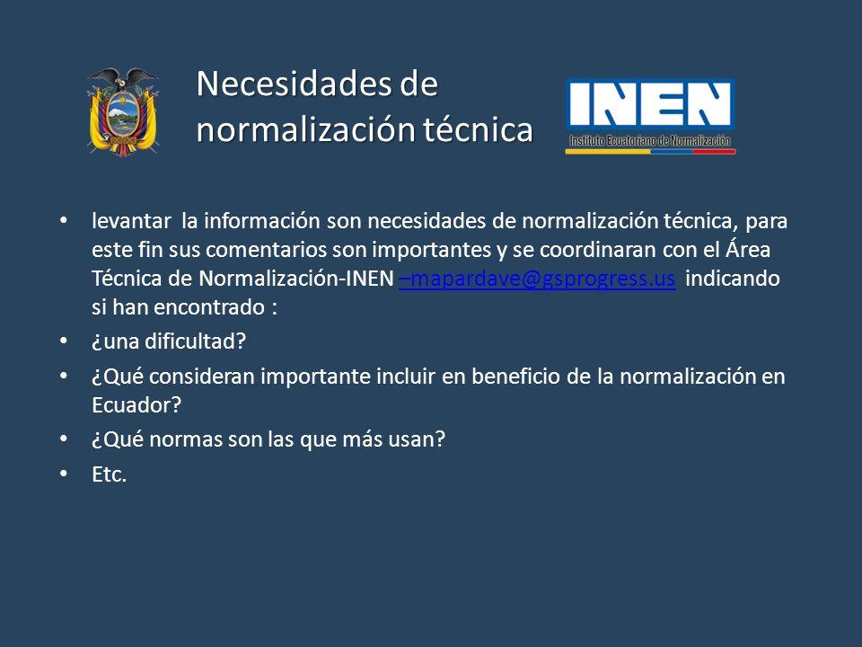 Necesidades de normalización técnica