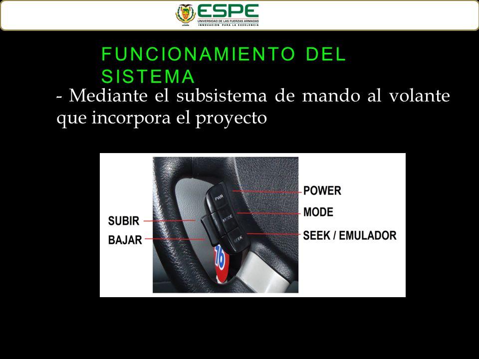 - Mediante el subsistema de mando al volante que incorpora el proyecto