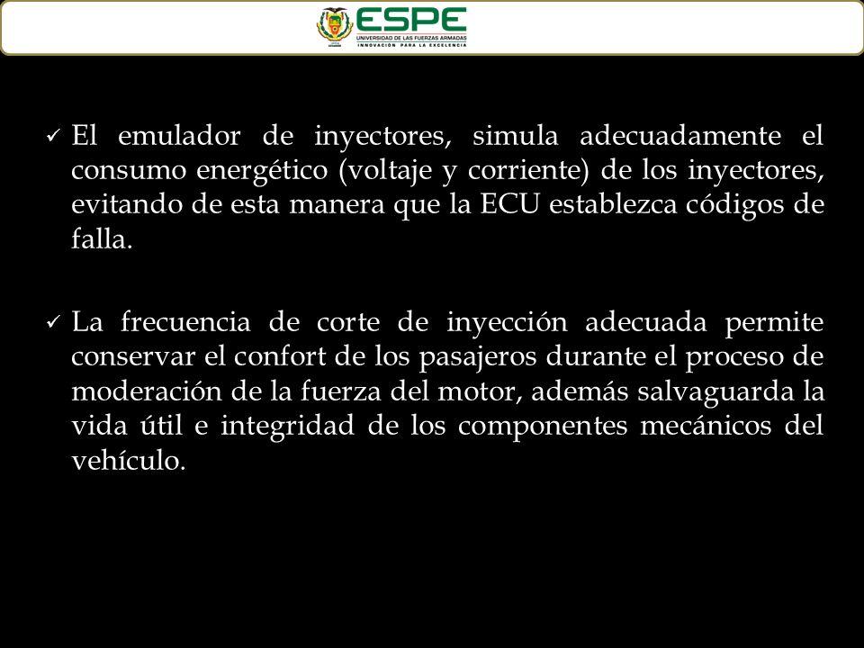 El emulador de inyectores, simula adecuadamente el consumo energético (voltaje y corriente) de los inyectores, evitando de esta manera que la ECU establezca códigos de falla.