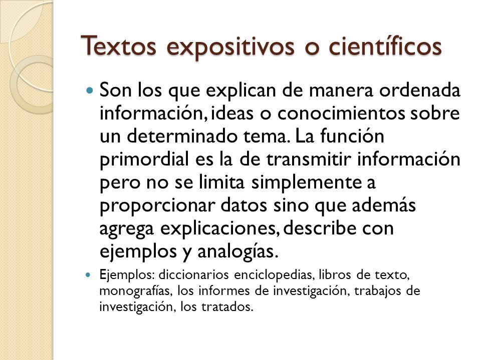Textos expositivos o científicos
