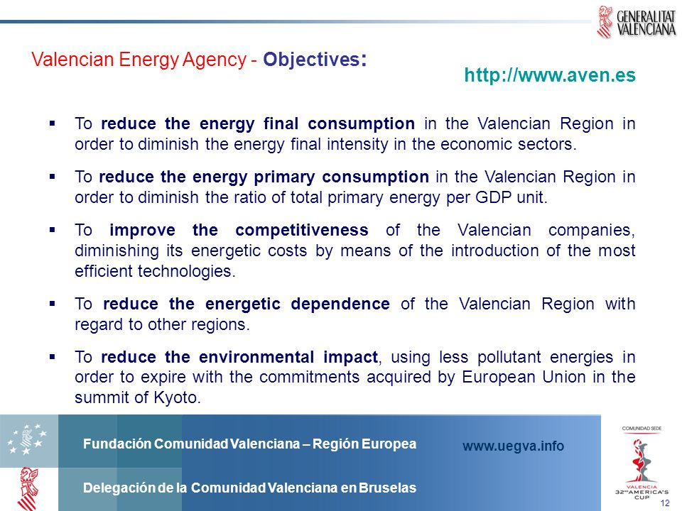 Valencian Energy Agency - Objectives: http://www.aven.es