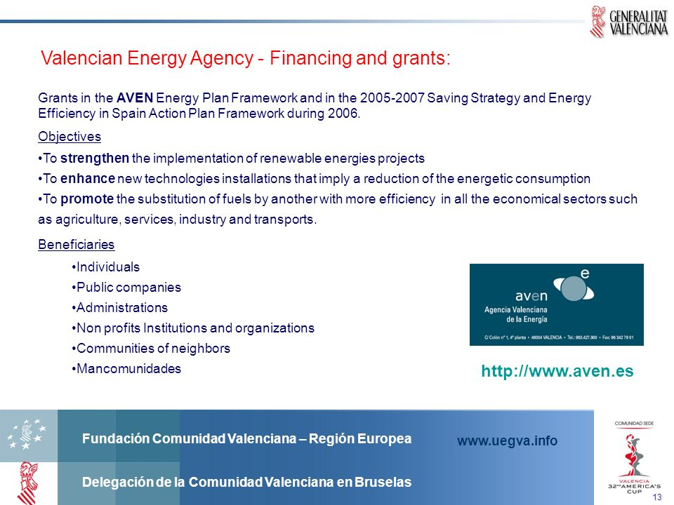 Valencian Energy Agency - Financing and grants: