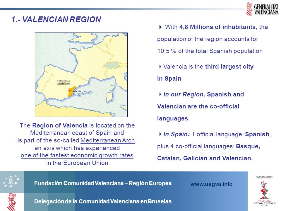 1.- VALENCIAN REGION  With 4,8 Millions of inhabitants, the population of the region accounts for 10.5 % of the total Spanish population.
