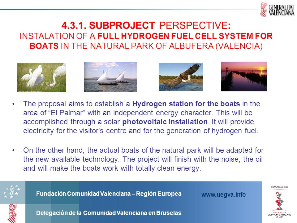 SUBPROJECT PERSPECTIVE: INSTALATION OF A FULL HYDROGEN FUEL CELL SYSTEM FOR BOATS IN THE NATURAL PARK OF ALBUFERA (VALENCIA)