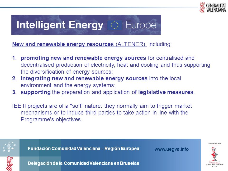 New and renewable energy resources (ALTENER), including: