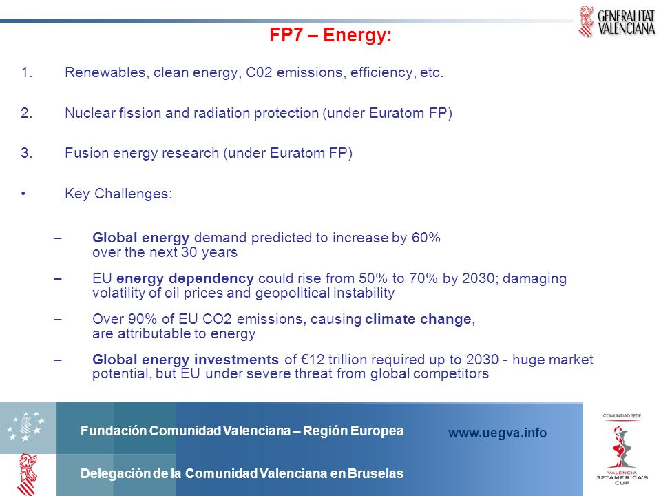 FP7 – Energy: Renewables, clean energy, C02 emissions, efficiency, etc. Nuclear fission and radiation protection (under Euratom FP)