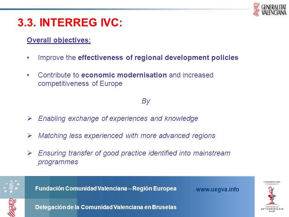 3.3. INTERREG IVC: Overall objectives:
