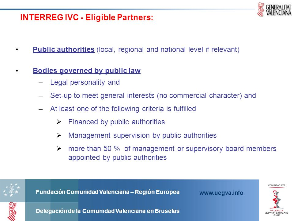INTERREG IVC - Eligible Partners:
