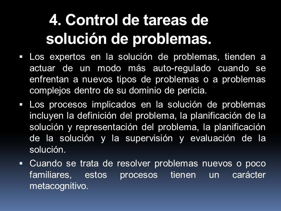 4. Control de tareas de solución de problemas.