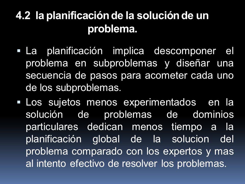 4.2 la planificación de la solución de un problema.
