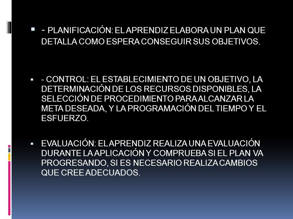 - PLANIFICACIÓN: EL APRENDIZ ELABORA UN PLAN QUE DETALLA COMO ESPERA CONSEGUIR SUS OBJETIVOS.