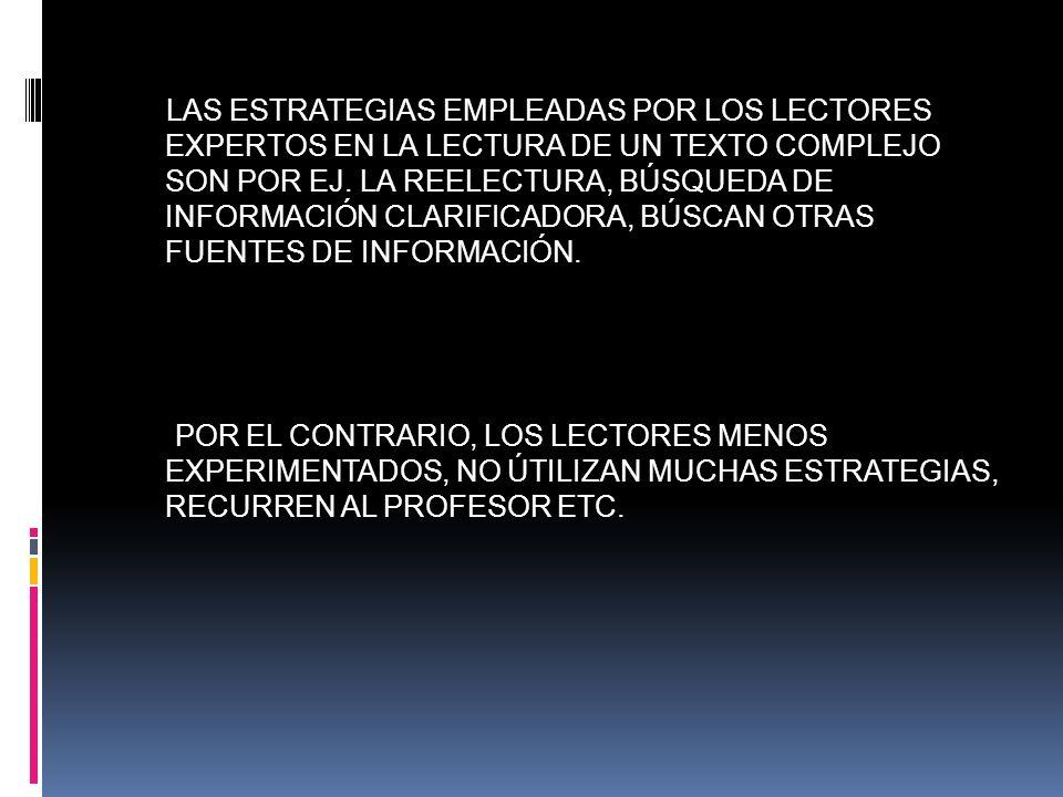 LAS ESTRATEGIAS EMPLEADAS POR LOS LECTORES EXPERTOS EN LA LECTURA DE UN TEXTO COMPLEJO SON POR EJ. LA REELECTURA, BÚSQUEDA DE INFORMACIÓN CLARIFICADORA, BÚSCAN OTRAS FUENTES DE INFORMACIÓN.