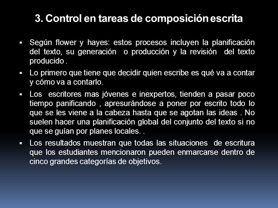 3. Control en tareas de composición escrita