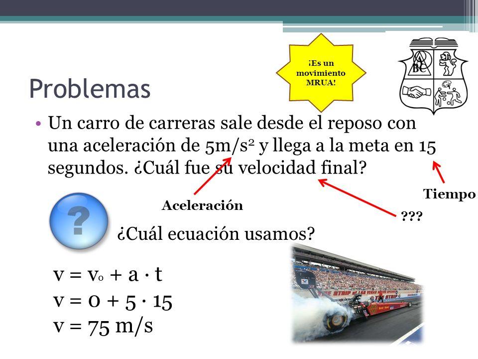 Problemas v = vo + a · t v = 0 + 5 · 15 v = 75 m/s