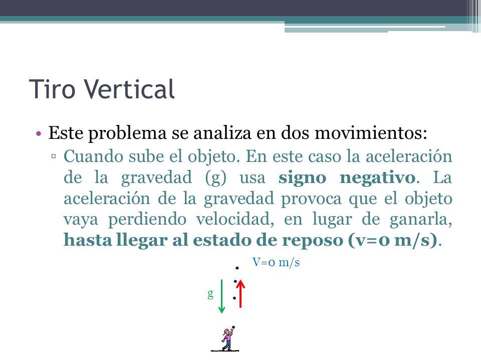 Tiro Vertical Este problema se analiza en dos movimientos: