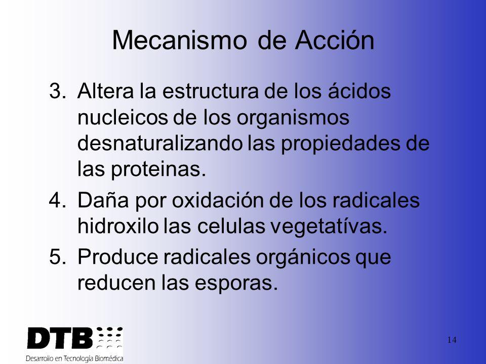 Mecanismo de Acción Altera la estructura de los ácidos nucleicos de los organismos desnaturalizando las propiedades de las proteinas.