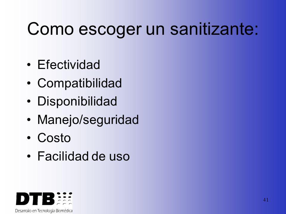 Como escoger un sanitizante: