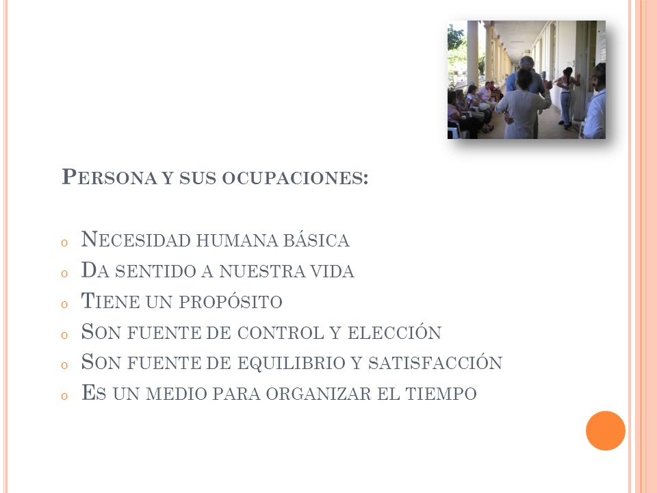 Persona y sus ocupaciones: