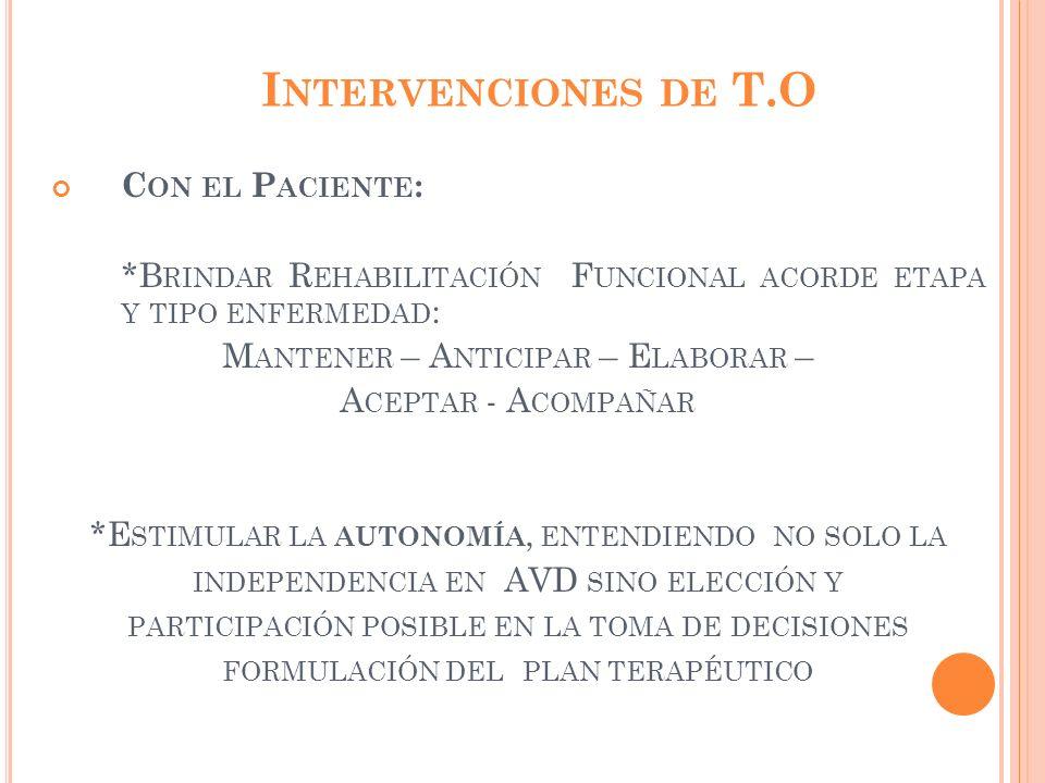 Intervenciones de T.O Con el Paciente: