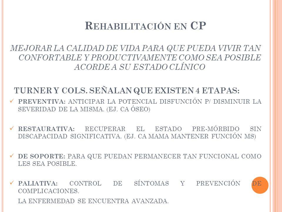 Rehabilitación en CP MEJORAR LA CALIDAD DE VIDA PARA QUE PUEDA VIVIR TAN CONFORTABLE Y PRODUCTIVAMENTE COMO SEA POSIBLE ACORDE A SU ESTADO CLÍNICO.