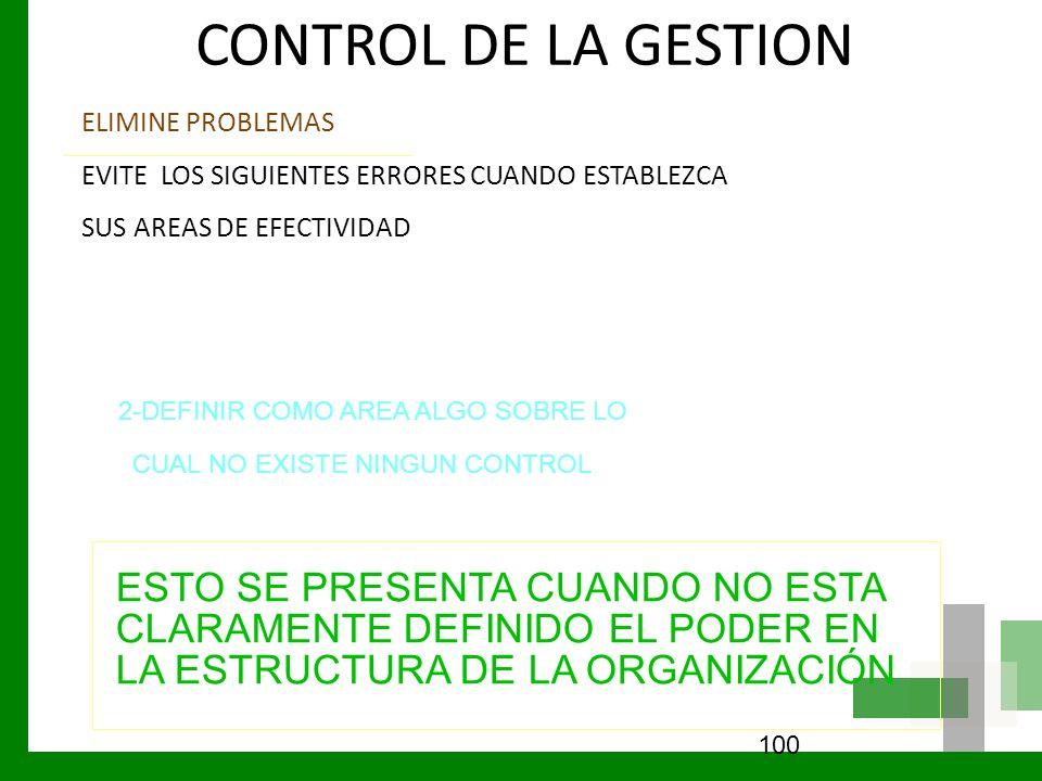 CONTROL DE LA GESTION ELIMINE PROBLEMAS EVITE LOS SIGUIENTES ERRORES CUANDO ESTABLEZCA SUS AREAS DE EFECTIVIDAD