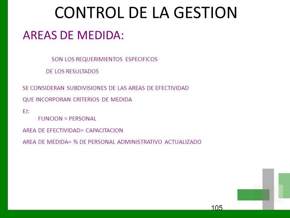 CONTROL DE LA GESTION AREAS DE MEDIDA: