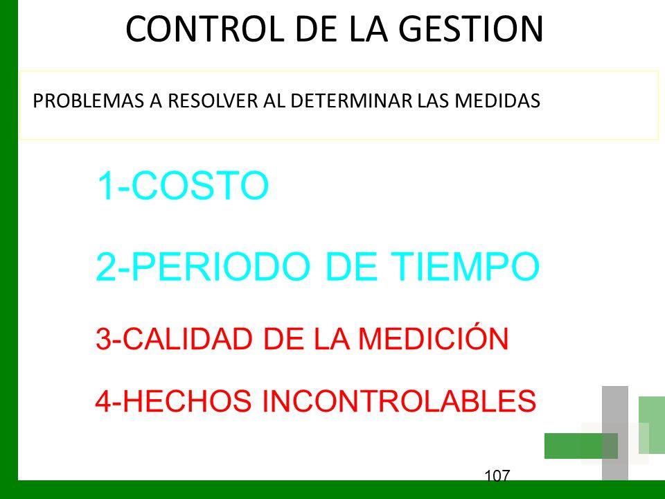 CONTROL DE LA GESTION 1-COSTO 2-PERIODO DE TIEMPO