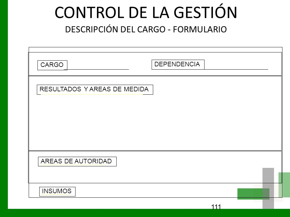 CONTROL DE LA GESTIÓN DESCRIPCIÓN DEL CARGO - FORMULARIO CARGO