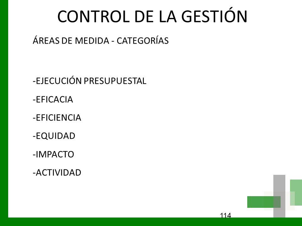 CONTROL DE LA GESTIÓN ÁREAS DE MEDIDA - CATEGORÍAS -EJECUCIÓN PRESUPUESTAL -EFICACIA -EFICIENCIA -EQUIDAD -IMPACTO -ACTIVIDAD