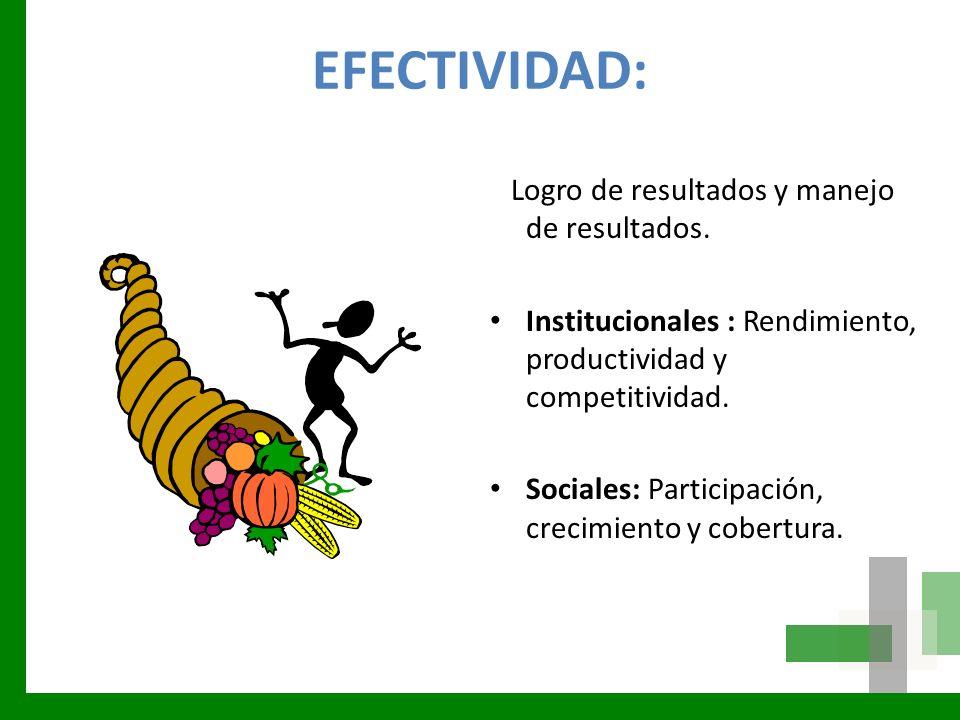 EFECTIVIDAD: Logro de resultados y manejo de resultados.
