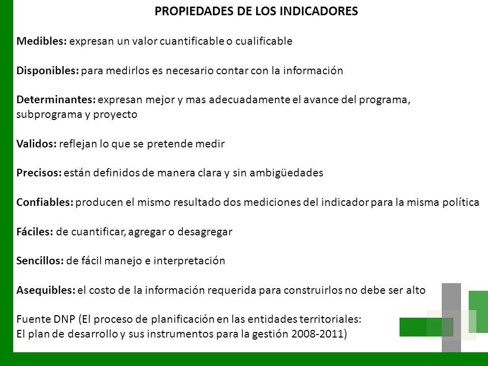 PROPIEDADES DE LOS INDICADORES
