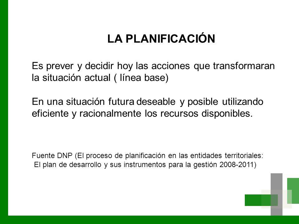 LA PLANIFICACIÓN Es prever y decidir hoy las acciones que transformaran la situación actual ( línea base)