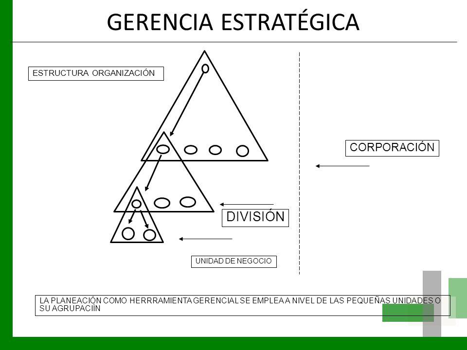 GERENCIA ESTRATÉGICA DIVISIÓN CORPORACIÓN ESTRUCTURA ORGANIZACIÓN