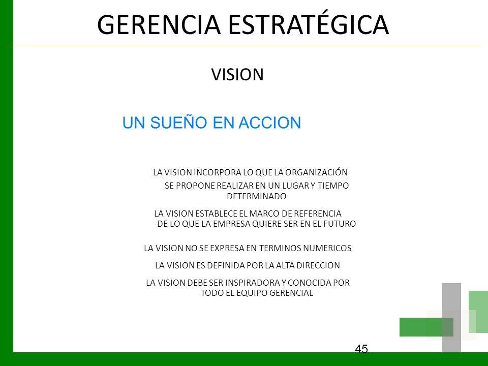 GERENCIA ESTRATÉGICA VISION. LA VISION INCORPORA LO QUE LA ORGANIZACIÓN SE PROPONE REALIZAR EN UN LUGAR Y TIEMPO DETERMINADO.